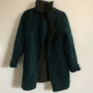 Reversible green and teal mohair fur jacket